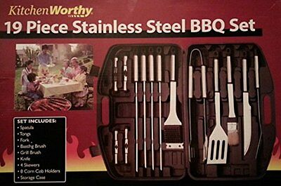 Kitchenworthy 19 Piece Stainless Steel BBQ Set Barbecue Tool Set, New