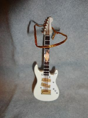 Fancy Electric Guitar White Instrument Ornament 4""