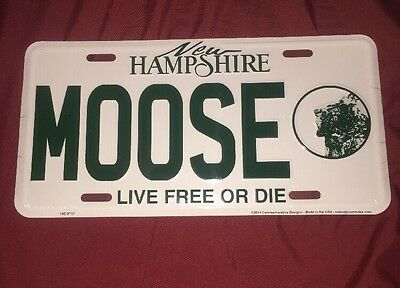 New Hampshire Moose Decorative Metal License Plate Live Free Or Die