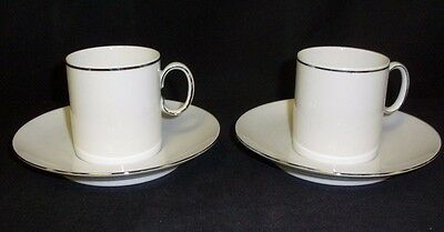Thomas Germany Medaillon Platinum Band Pair Of Coffee Espresso Cans  (Tr)