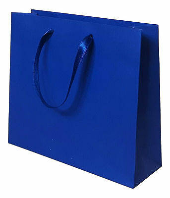 10 ROYAL BLUE LUXURY PAPER GIFT PARTY BAGS SATIN HANDLES 16x18x6cm