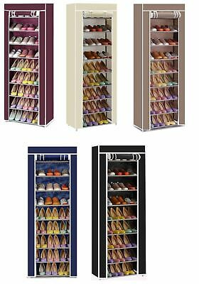 Vinsani 9 Tier Canvas Shoe Rack Standing Storage Organiser Rack Holds 27 Pairs