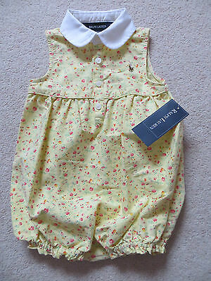 BNWT Ralph Lauren Yellow Ditsy Floral Cotton Summer Playsuit Romper Age 12mnths