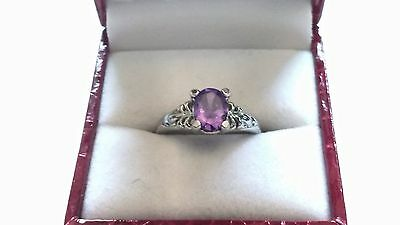 Vintage Inspired Oval Amethyst Sterling Silver ring