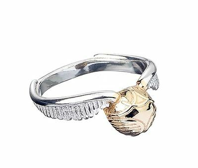 New Sterling Silver 925 Official Harry Potter Golden Snitch Ring in Gift Box