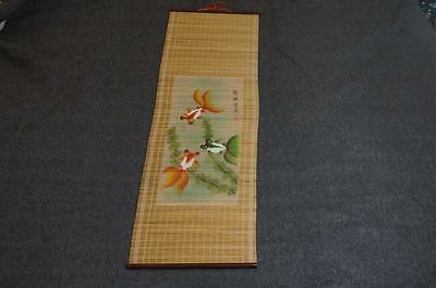 "Vintage Japanese Hanging Scroll Straw Art Bulging-Eye Goldfish 12"" X 37"""