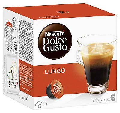 Dolce Gusto Lungo Coffee (6 Boxes,Total 96 Capsules ) 96 Servings