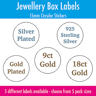 Jewellery Box Labels / Stickers - Silver Plated - 925 Sterling Silver - 9ct Gold