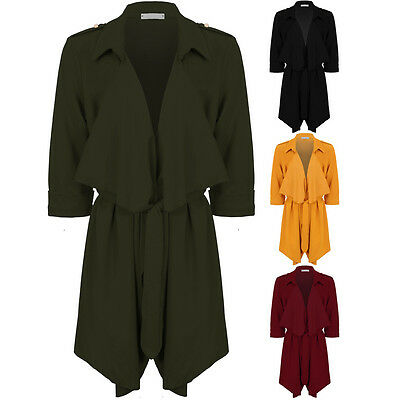 Womens Open Front 3/4 Turn Up Sleeve Tie Waist Waterfall Duster Blazer Jacket