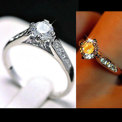 18K Gold Gf Cathedral 1Ct Solitaire Lab Diamond Engagement Wedding Solid Ring