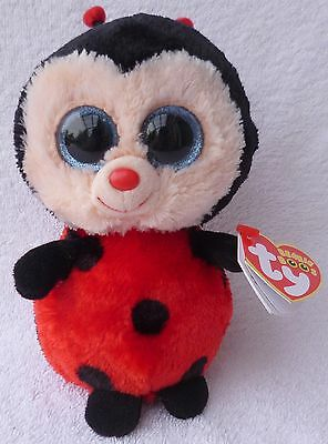 Rare Ty Beanie Boos/Boo Soft Plush Toy Bugsy the Ladybug Sparkly MWMT MINT 6""