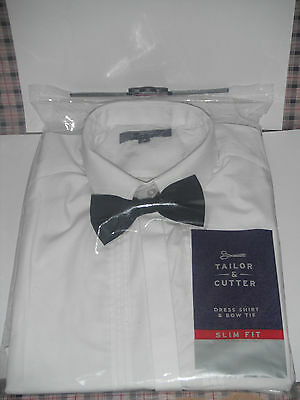 "Mens White Long Sleeved Dress Shirt & Black Bow Tie - Taylor & cutter 16"" Neck"