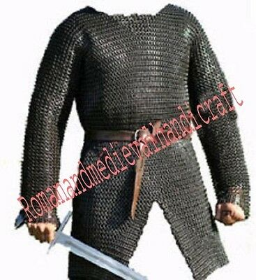CHAINMAIL SHIRT MEDIEVAL HAUBERK Medium - 9 mm FLAT RIVETED WITH WASHER