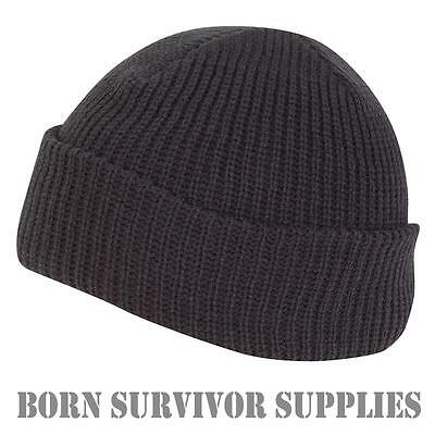 NEW WARM ACRYLIC BOB HAT - BLACK - Beanie, Benny, Watch Cap, Fishing, Hiking