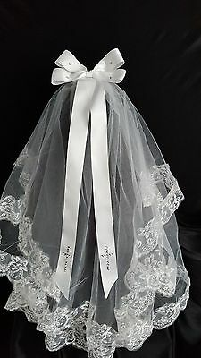White Diamante Crystal Embroidered Cross Bridal Veil, Holy Communion Veil