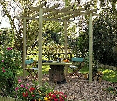 garden wooden pergola 2.4m x 2.4m strong treated timber