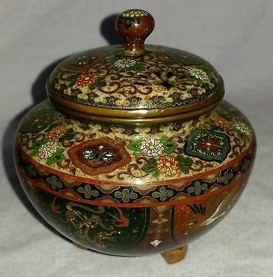 Superb 19Th Century Museum Quality Japanese Fine Cloissone Silver Wire Koro