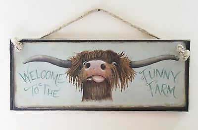 Highland Cow Wooden Wall Sign Quirky Art Plaque Dog Lovers Gift Shabby Chic