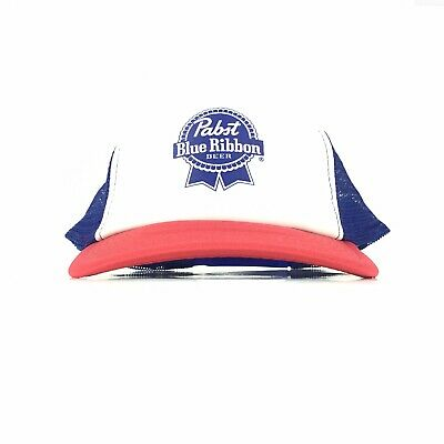 Pabst Blue Ribbon Beer Logo Mesh Trucker Hat Cap Snapback Adj Adult Size Poly