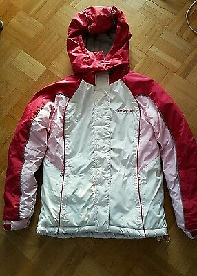 winterjacke schneejacke m dchen gr sse 152 weiss rot rosa. Black Bedroom Furniture Sets. Home Design Ideas