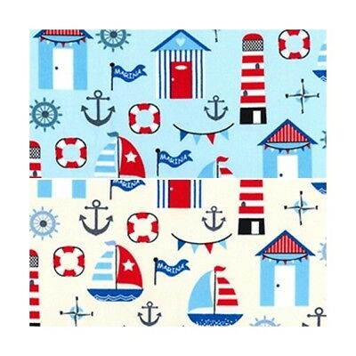 100% Cotton Poplin Fabric Rose & Hubble Sailing Boats Anchors Beach Huts