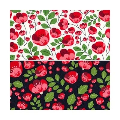 100% Cotton Poplin Fabric Rose & Hubble Red Polly's Poppy Flowers Floral Poppies