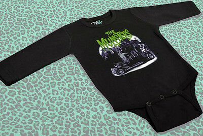 Baby Grow Meet The Munsters Black Onesie Horror Monster Vampire Goth Halloween