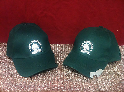 Rolling Rock Extra Pale Adjustable Hat with Bottle Opener Set Of Two (2) NEW F/S