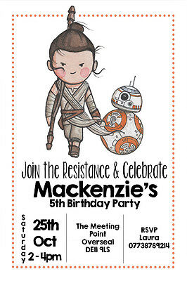 Personalised Rey Star Wars Boy Girl Birthday Party Invites Inc Envelopes SW3