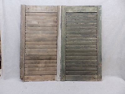 Antique Pair Window Wood Louvered Shutter Shabby Old Chic Vtg 32x17 49-17R
