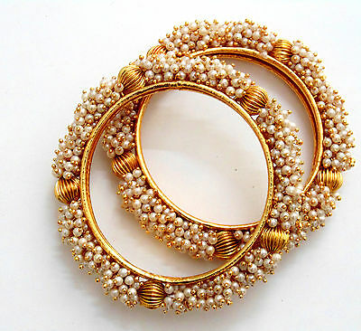 Indian Bangles Jewelry Bollywood Pearl Gold Plated Ethnic Beautiful New Set jr66