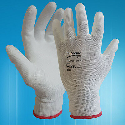 24 Pairs White Pu Coated Safety Work Gloves Garden Mens Builders Construction
