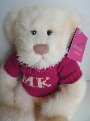 Mary Kay Ash Teddy Pink Sweater 9 in. Charity Bear 2003 Russ With Tags VHTF