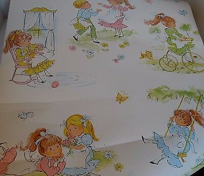 Jack and Jill Kids Wallpaper Roll Pre-pasted Vintage Opened Cute Boy Girl Cat