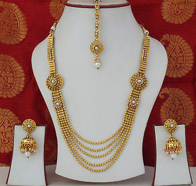 Indian Traditional Ethnic Jewelry Necklace Earrings Bollywood Gold Plated Set j9