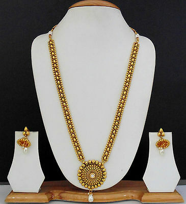 Long Necklace Jewelry Bollywood Gold Plated Ethnic Indian Traditional Pearl Set