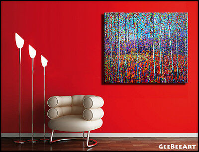 Original Extra Large Painting Canvas Oil Autumn Aspens Trees Forest Fall Modern