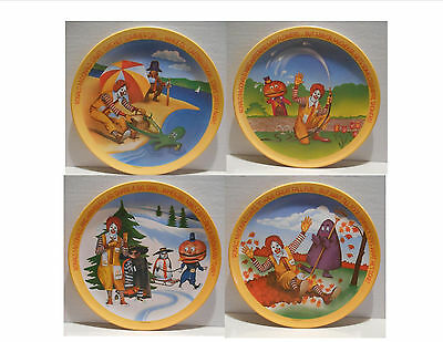 Ronald McDonald's Collector Plates 4 Set Spring Summer Fall Winter Vintage 1977