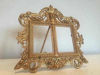 Antique Gilt Metal Double Photo Picture Frame Masonic