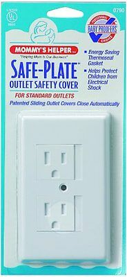 Mommys Helper SAFE-PLATE Electrical Outlet Cover White Standard ~NEW~