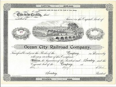 Ocean City Railroad Company ( New Jersey)......1800's Unissued Stock Certificate