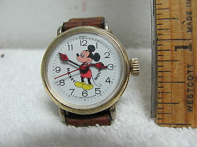 Vintage Stem Wound Bradley Mickey Mouse Watch Hong Kong Works Well
