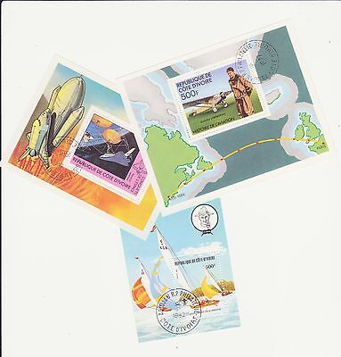 Ivory Coast - 3 Miniature Sheets (Aviation, Space, Scouts) - See Scan