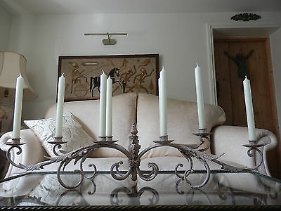 Beautiful Large Aged Metal Scrolling Leaf Candelabra Table Centre Piece