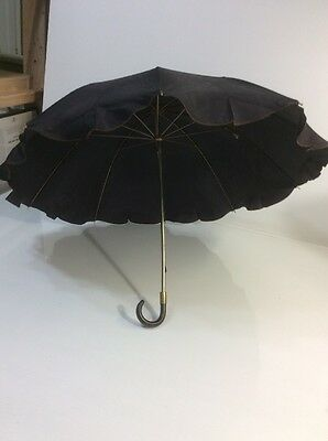Vintage Black Umbrella with Bakelite Handle and Metal Stock