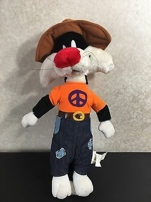 """Vintage Looney Tunes Plush 15"""" Hippie SYLVESTER 70's Peace Shirt Toy Stuffed"""