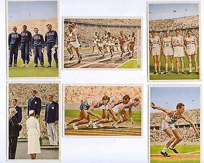 1936 Olympia by Muhlen Franck, Serie 14 1 to 6, Athletics incl' USA & GB stars
