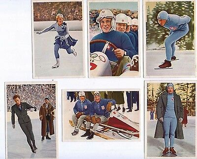 1936 Olympia by Muhlen Franck, Serie 8a 1 to 6, Winter Sports colour cards