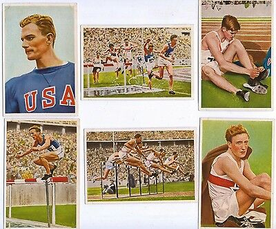 1936 Olympia by Muhlen Franck, Serie 13 1 to 6, Athletics incl' USA stars