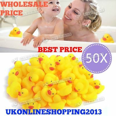 10 X Rubber Colour Yellow Ducks Fun Kids Bath Squeaky Toy Baby Duck New Balloons